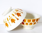 French vintage bowl cafe au lait bowl yellow tulips footed bowl