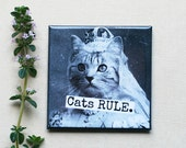 Magnet #2 - Vintage Cat Queen - Cats RULE