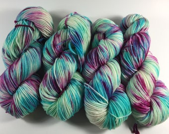 Light Worsted, DK, Superwash Merino, 100 grams, Hand Dyed Yarn,   I Love Rock And Roll, double knitting