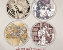 SET OF FOUR Steampunk Coasters Illustration pin up gothic designs
