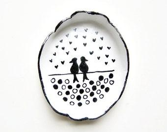 Small dish, love birds, hand painted ring dish, clay dish, small art, heart dish, polka dot decor