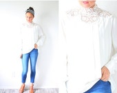 20% OFF BIRTHDAY SALE Vintage boho white blouse // boho top // summer lace cream top // modest lace blouse top // ivory blouse // long sleev