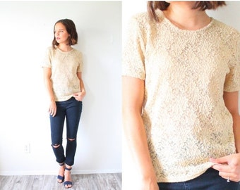 20% OFF BIRTHDAY SALE Vintage boho tan lace top // tan cream lace blouse // bohemian blouse // sheer lace top // see through lace shirt // S
