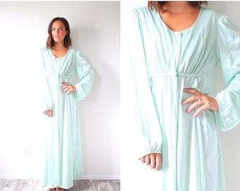 20% OFF BIRTHDAY SALE Vintage boho mint green nightgown dress // long sleeve nighty dress // modest classic mint blue dress // boho long sle