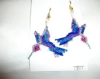 Hummingbird Purple N Blue Earrings