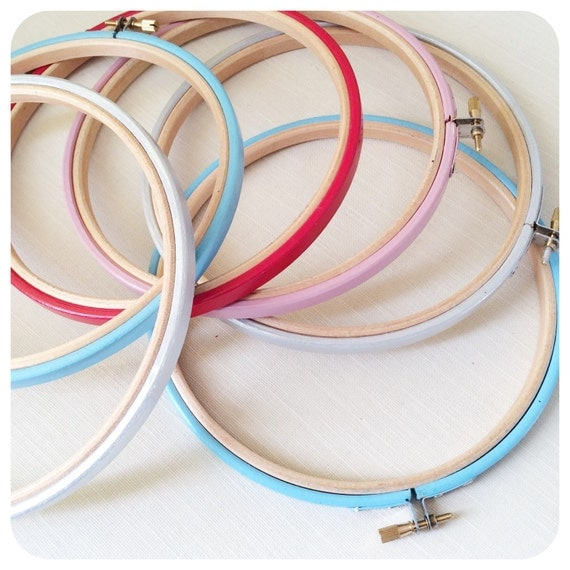 Inch embroidery hoop hand colored hoops