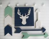 Tribal Nursery Set .Deer Head Sign , Wooden Arrow Set and Chevron Arrow Set . Antler Sign. Woodland Decor . Modern Nursery . Tribal Nursery
