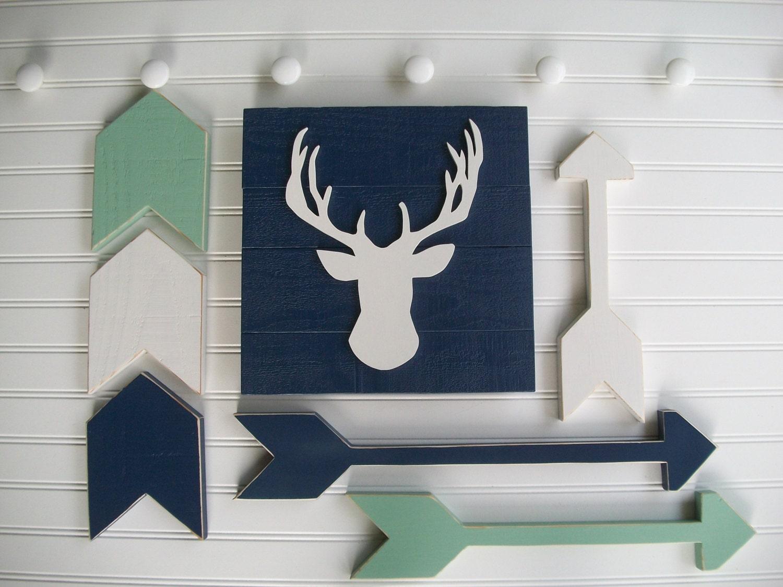 Tribal Nursery Set .Deer Head Sign Wooden Arrow Set And