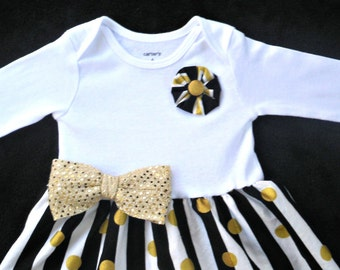 Baby Dress / Black and Gold / Special Occasion with Optional Headband