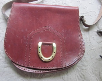 leather messenger bag, handbag, shoulder bag, brass horseshoe