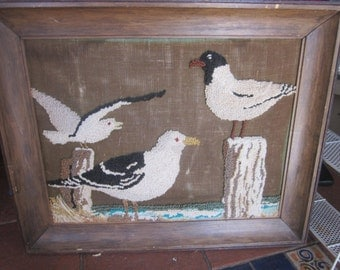 vintage hooked picture, seaguls,rustic, hooked rug wall hanging
