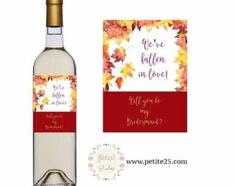 Printable Autumn Leaves Wine Bottle Label- maple leaves, will you be my bridesmaid, maid of honor, bridal party, fall orange