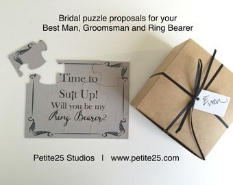 PUZZLE: Time to Suit Up! Will you be my Ring Bearer? card, wedding party card, bridal party card, groomsman, ring bearer, groomsmen,
