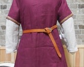 Historical Viking, Medieval linen tunic with Celtic knot trim - size L - ships today!