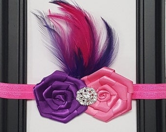 Hot PInk and Purple Rosette Crystal & Feather Aceent Headband Preemie Newborn Infant Toddler Child