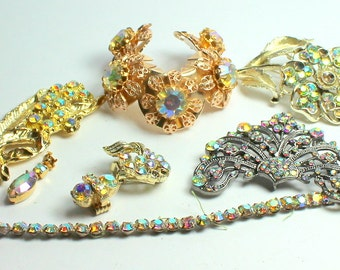 Craft Lot of Vintage and Salvaged Aurora Borealis  Rhinestone and Crystal Jewelry Pieces for Assemblage