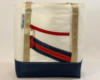 Recycled Sails, Sail Bag, Nautical Gift, Beach Bag, Nautical Bag, Gym Bag, Classic Tote, White Bag, Navy Bag, Red Bag (R8)