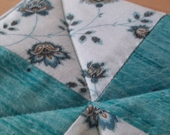 Turquoise and Chocolate Brown Four Patch Quilted Pot Holder Hot Pad