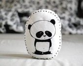 Stuffed pillow with panda bear Decorative pillow Animal pillow Nursery decor Illustrated cushion Black white Scandinavian style