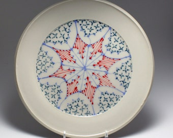 Wheel Thrown Handmade Ceramic Sandwich Plate with Sky, Red and Navy Pattern