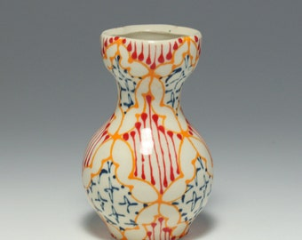 Ceramic Handmade Wheel Thrown Bud Vase - with Orange, Red and Navy Pattern
