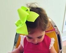 "Extra Large Hair Bow, Neon Green Hair Bow, 6"" 6 inch hair bows, big bow, giant bow, extra large bow, jumbo hair bows, hair bows for girls xl"