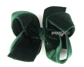 "Dark Green Velvet Hair Bow, Evergreen Rich Green 4"" 4 Inch Velvet Hair Bow, Christmas Hair Bow, Girls Hair Bow, Baby Hair Bow, Fast Shipping"