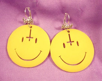 Big Yellow Acrylic ANTICHRIST SMILEY FACE Earrings with Silver Wrap Around Hooks With Rhinestone Bow