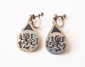 Vintage Taxco Piedra Negra Earrings Sterling Silver Black Resin Copper Signed AHI—Screwbacks w/ Free Conversion to Posts Aztec Mayan Monkeys
