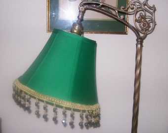 New Emerald Green Lampshade for Bridge Lamp with Marble Beads