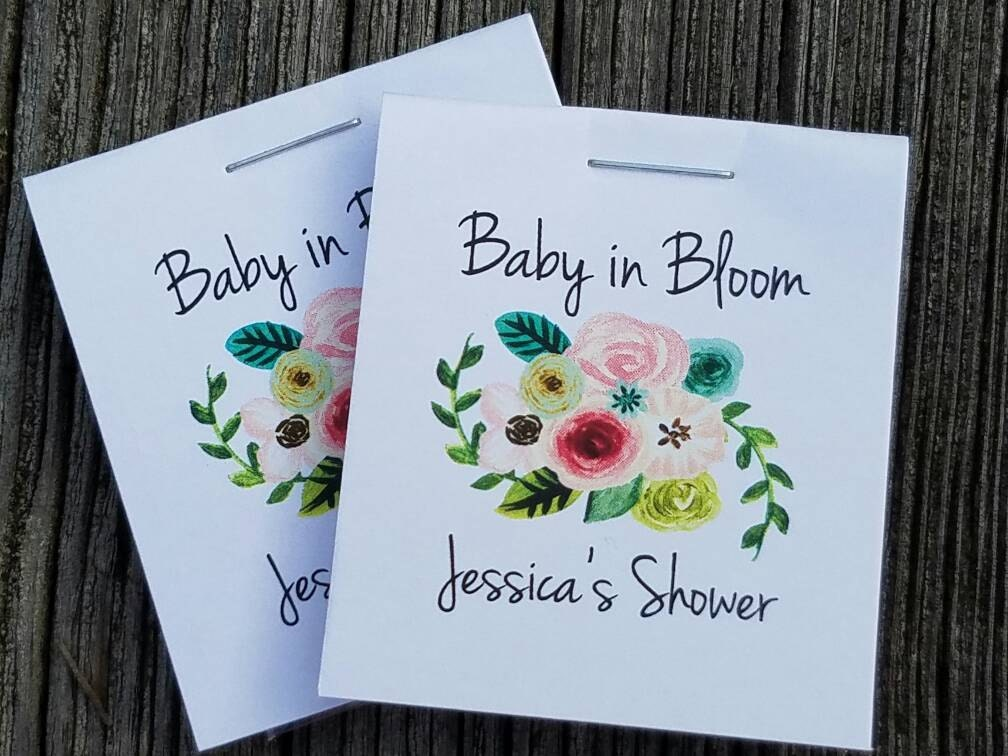 Floral Baby Shower Favors ~ Sale personalized mini seeds floral bunch baby in bloom