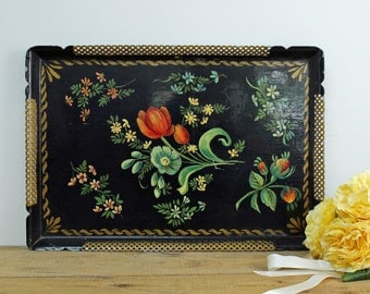 Vintage hand painted tole tray - black with tulips and wildflowers - gold lattice border - chippy cottage decor - decorative tray.