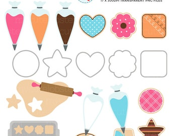 Iced Cookies Clipart Set - clip art set of cookies, piping bags, icing, iced biscuits - personal use, small commercial use, instant download