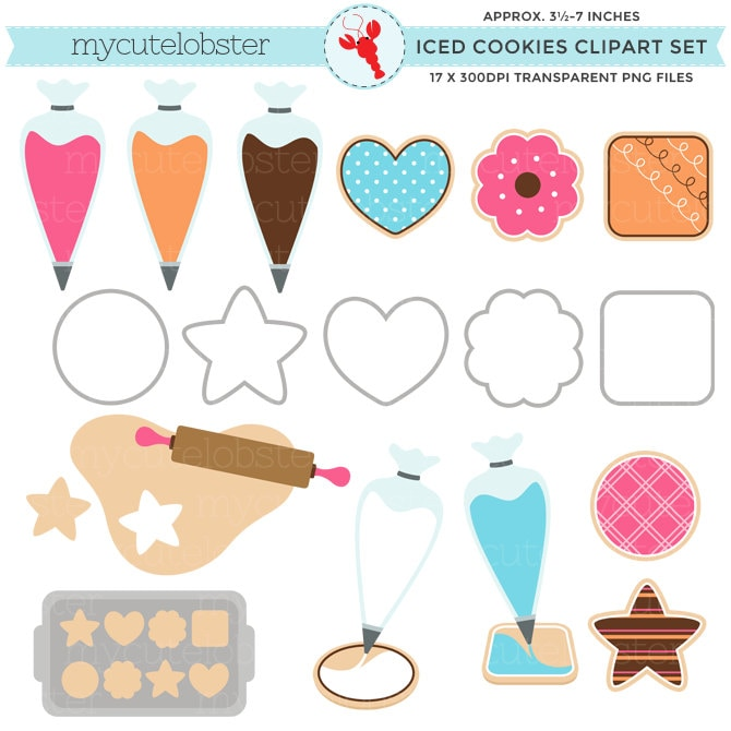 Iced Cookies Clipart Set clip art set of cookies piping
