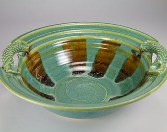 Green bowl with handles