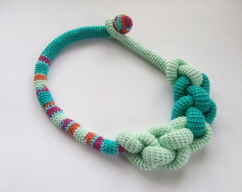 Crochet  Rope Choker_Chunky Rope Statement Necklace _ Knot Macrame Necklace _ Big Pastel Necklace