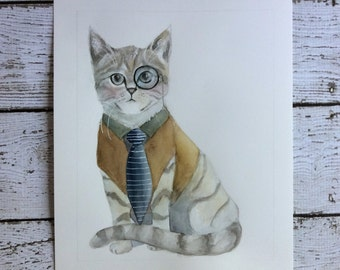 Original 8 x 10 Cat Watercolor