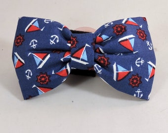 Dog Flower, Dog Bow Tie, Cat Flower, Cat Bow Tie - Sailboats