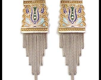 Anatoli Sterling Silver Post Earrings / Foxtail Tassel Fringe Gold Vermeil Blue & Green Enamel / Byzantine / Retro Jewelry / Large Earrings