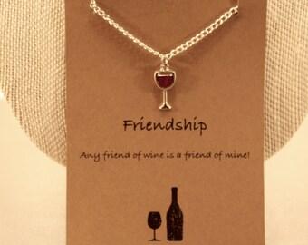 Wine Charm Necklace: Wine Glass Wish Necklace, Friendship Necklace, Best Friends, Best Friend Necklace, Wine Lover