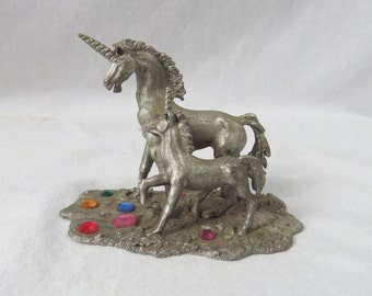 Vintage Pewter Fantasy Baby and Mother Unicorn Spoontique Figure  Box R