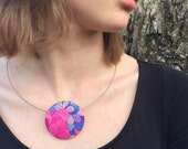 Pretty Liberty of London Fabric Button Brooch and Necklace Combo - Modern Floral Pink Purple Blue