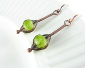 Wire Wrapped Earrings Copper Wire Jewelry Peridot Earrings Czech Picasso Glass Dangle Earrings Wire Wrapped Jewelry Copper Earrings