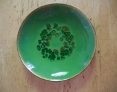 Vintage Green/Gold Small Copper Enamel Dish Handcrafted by Bovano of Cheshire, Ct. 1960s to 1970s Mod Tiny Decorative Shallow