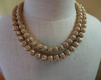 Vintage Double Strand Filigree Gold Tone Necklace Adjustable Metal Beads 1950s to 1960s
