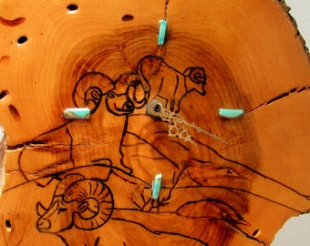 Nature's Time: Wooden Wall Clock with Turquoise Chip Markers and Bighorn Sheep Design - Vintage Hand Crafted Treasure ~ Free Shipping!