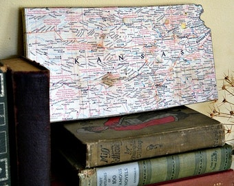 "KANSAS Vintage National Geographic State ""Mini Map"" Wall Art"