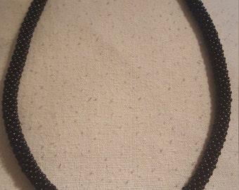 Black Bead Crochet Necklace