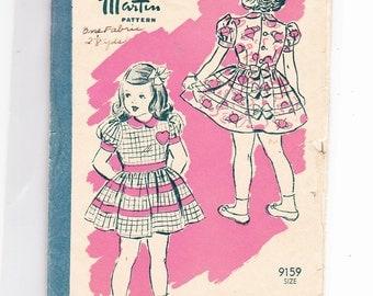 Marian Martin 9159 Vintage Little Girls Dress Unprinted Pattern Size 4