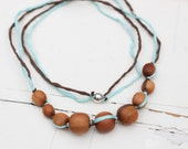 Turquoise & Chocolate Mommy Necklace / Nursing Necklace / Teething Necklace for mom to wear - Silk and Apple Wood - Kangaroo Care